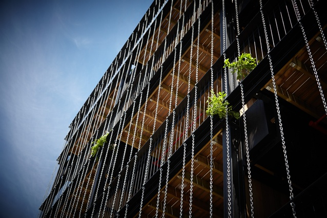 Over time, plants will grow up the chains on the north facade to produce a green wall, shielding interiors from summer sun.