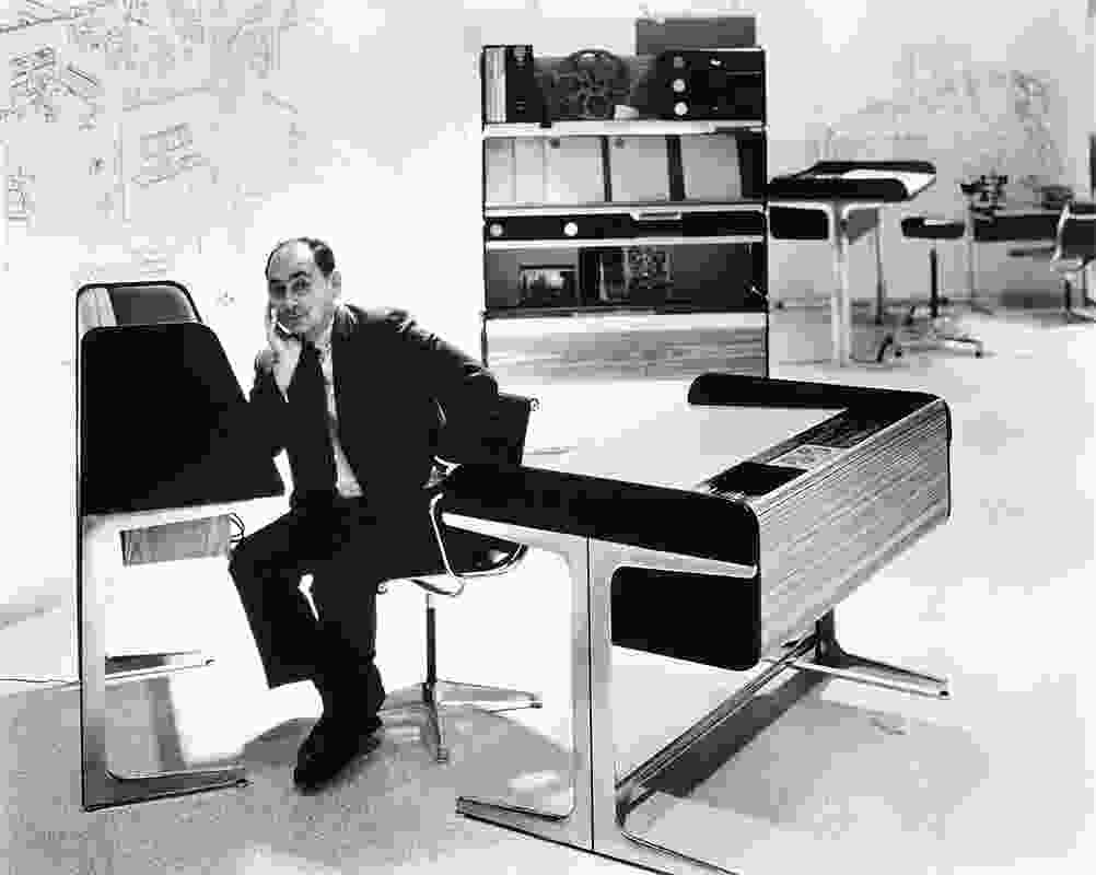 George Nelson with his Roll Top Desk.