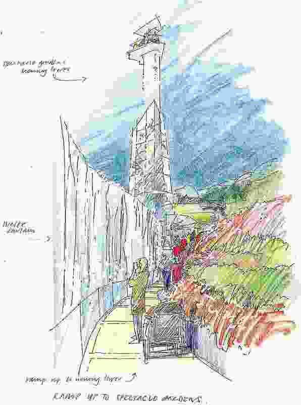 An original sketch showing the ramp up the spectacle garden and tower.