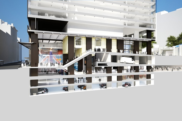 Sectional perspective of Wynyard Place, designed by Make and Architectus.