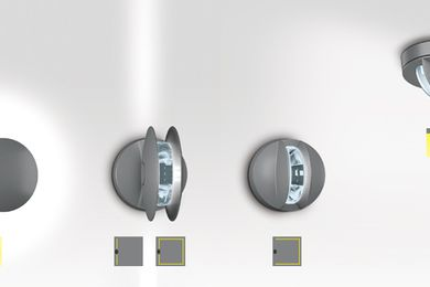 Trick surface mounted luminaires, giving 180o and 360o light blade effects.