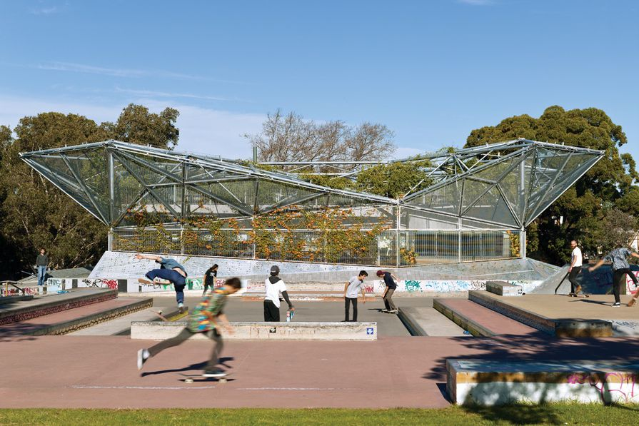 Climbing plants create a vertical green backdrop to the skate park.