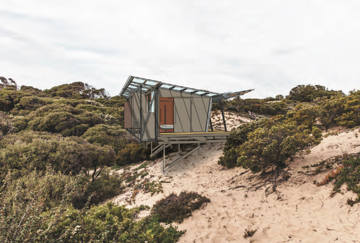 One of the proposed sleeping pods proposed for Kangaroo Island's Flinders Chase National Park, designed by Troppo Architects.
