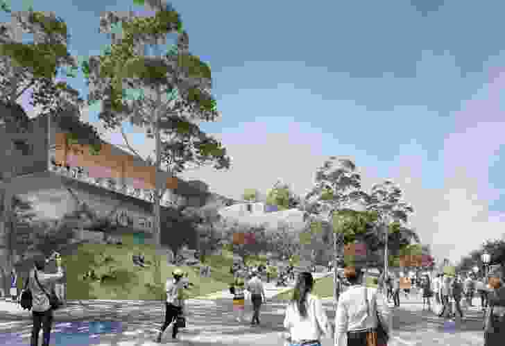The design of the proposed Apple flagship store in Federation Square by Foster and Partners.