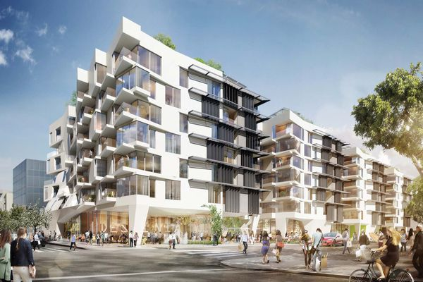 At 500 Broadway, a mixed-use development in Santa Monica, California, an innovative prefabricated steel moment-frame facilitates the plasticity desired to strengthen the connection between home and street. Collaborator: Large Architecture (architect of record).