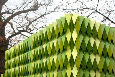 Gramazio & Kohler's public toilet parametric facade of folded, coloured aluminum strips.