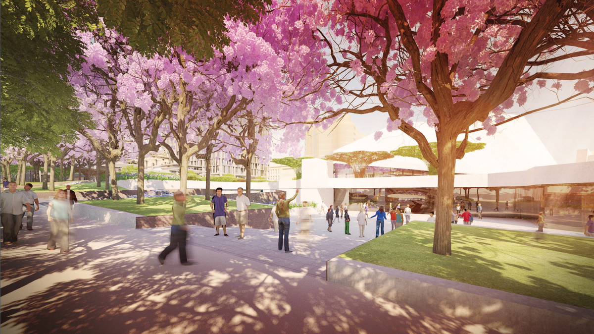 Proposed view from King William Street of the Adelaide Festival Plaza redevelopment designed by ARM Architecture and Taylor Cullity Lethlean.