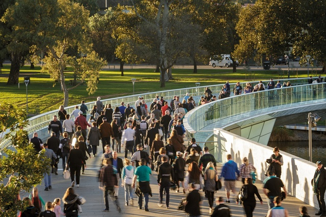 Riverbank Pedestrian Precinct Bridge by TCL with TZG Architects, Aurecon and Karl Telfer.