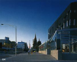 """View along St Kilda Road, with the """"Neo-Pub"""" to the right and St Paul's in the distance.Image: Trevor Mein."""