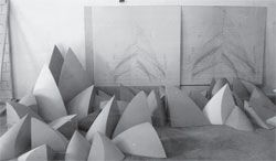 Photograph of Utzon's studio in Denmark, 1960, with roof segments. By permission of the National Library of Australia.