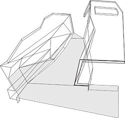 The assembled entry showing how the cranked form creates a bench seat.