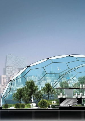 """The """"Home of the Future"""" by LAVA comprised an artificial sky dome where nature and technology combine on the rooftop of a new shopping mall in Beijing."""
