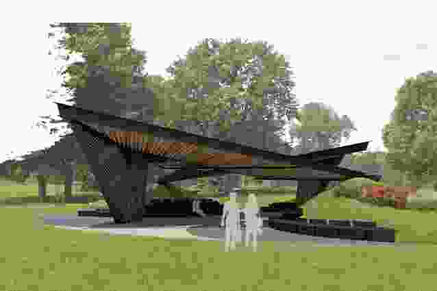 The 2018 MPavilion by Carme Pinós, currently under construction in Melbourne's Queen Victoria Gardens.