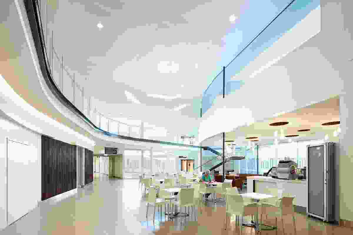 The atrium, where the inclusion of retail and a cafeteria create a stimulating heart of the hospital.