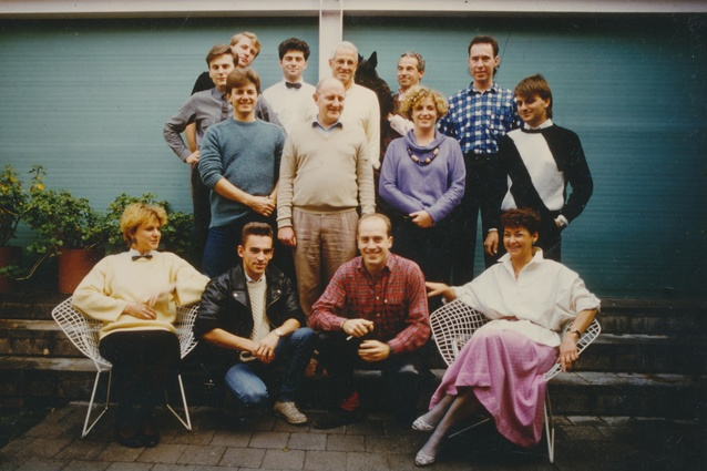 A Marsh Freedman Associates staff photo (1984). George Freedman stands at the back holding one of his Scottie dogs.