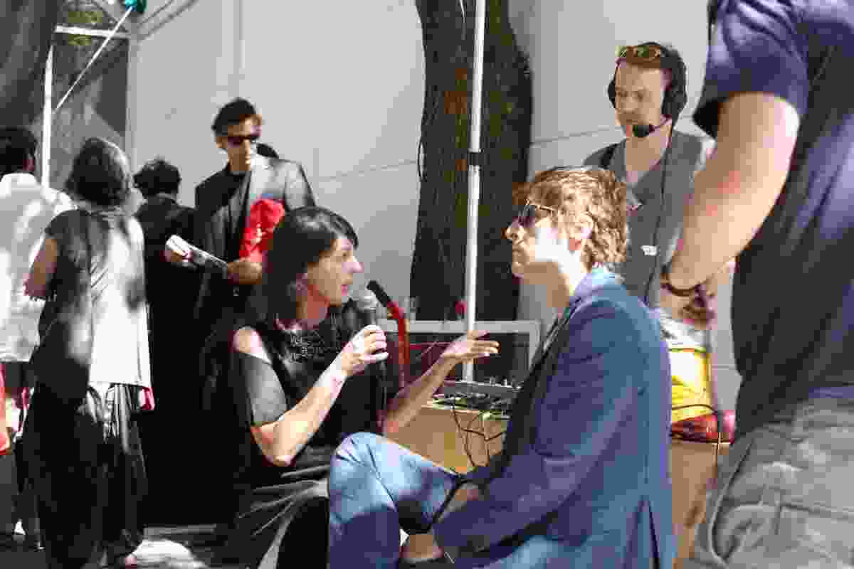 Fleur Watson and Tom Kovac interviewed by The Architects Radio Show at the Australian pavilion.