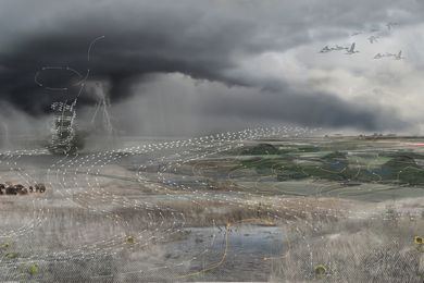 A concept drawing showing how a new landscape structure affects wind velocity.