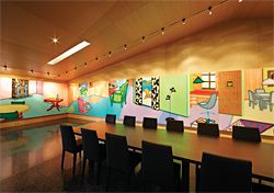 The dining room or boardroom, lined with Howard Arkley, Fabricated Rooms, 1998. Image: Dianna Snape