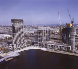 Residential towers, designed by HPA, at Mirvac's Yarra's Edge at the south edge of Docklands. The landscape design for this section of the public promenade is by Murphy Design Group and EDAW. The Webb Bridge, by Denton Corker Marshall and Robert Owen, is in the foreground.