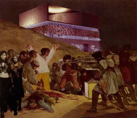 Francisco Goya's 3rd of May, 1808, transformed into a disturbing image of the architect, surrounded by his followers, defending his work.