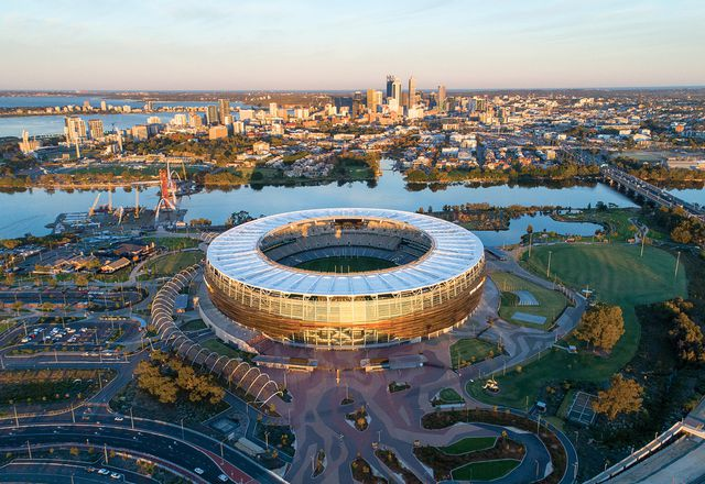 """The roof, a """"simple and singular signature,"""" makes the stadium a recognizable gateway to the city."""