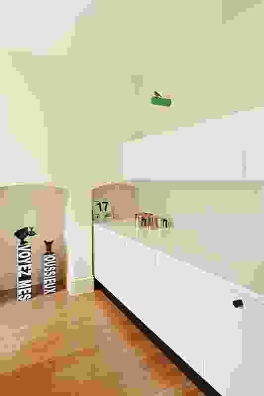 The kitchen. Artwork: Emily Floyd (floor); Michael Parekowhai (wall).