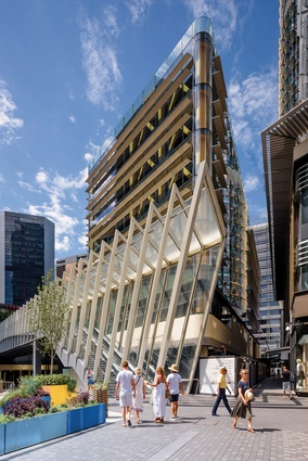 The building's striking northern facade interacts visually with Napoleon Bridge, one of the two main pedestrian access points to Barangaroo South.