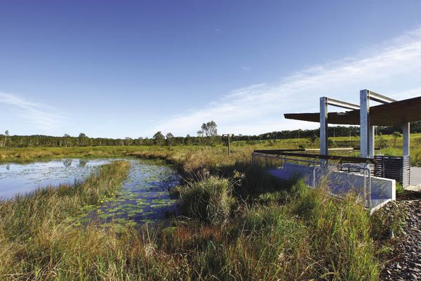 Shelters overlooking wetlands provide welcome surroundings for the workers of the industrial estate.