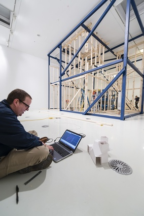 Stephen Bram working on his faceted white space at the Ian Potter Museum of Art.
