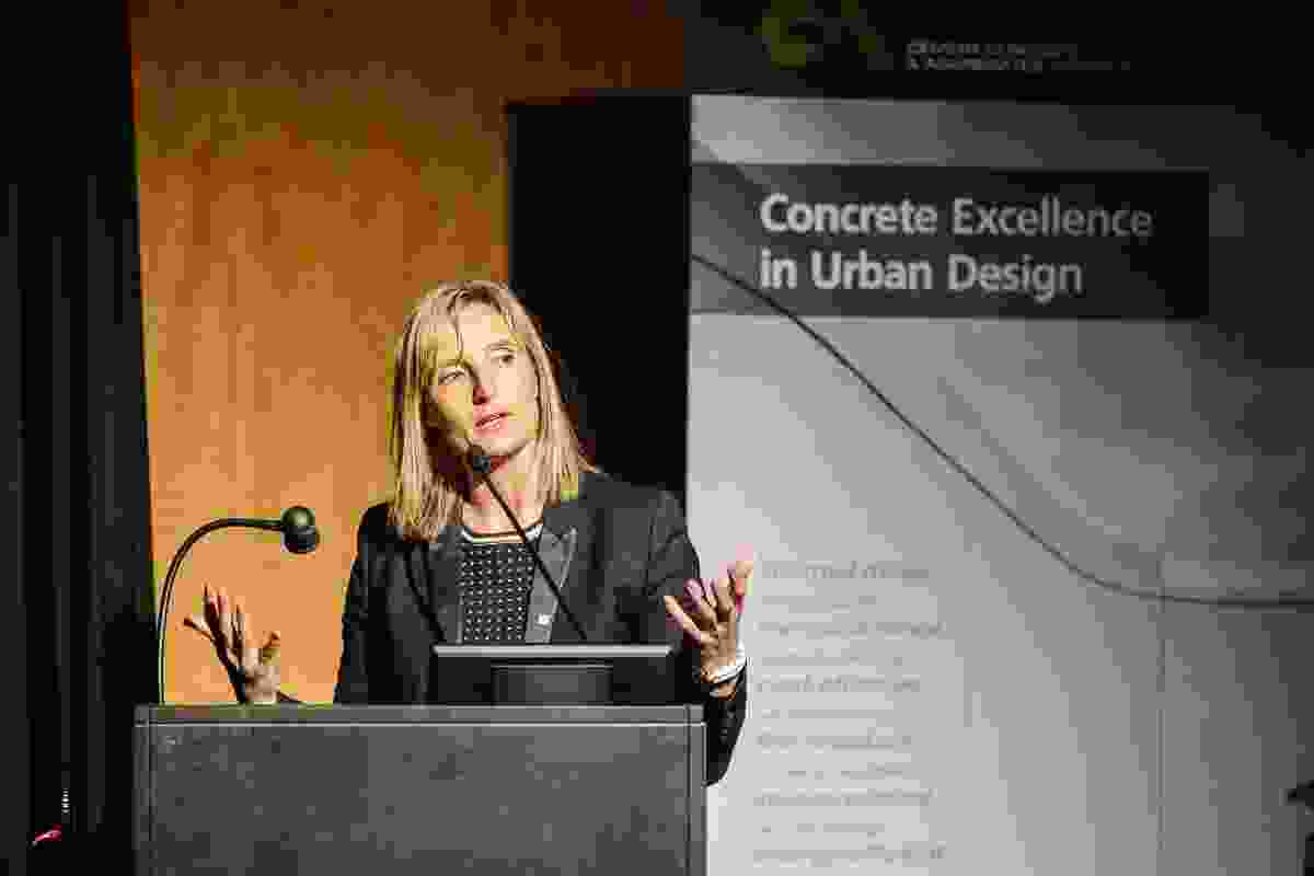 Sarah Hill, CEO of the Greater Sydney Commission, delivers the 2016 Kemsley Oration at the Australian Urban Design Awards held in Melbourne in October 2016.