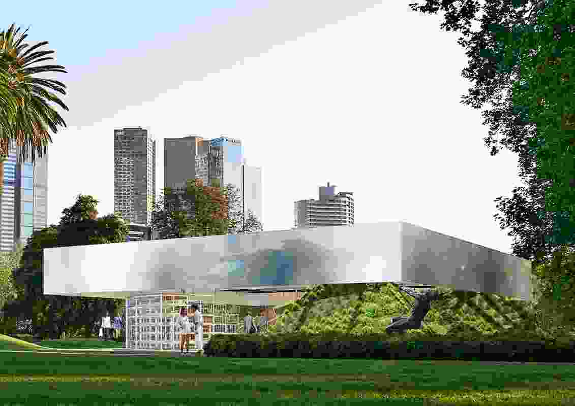 The 2017 MPavilion by Rem Koolhaas and David Gianotten of OMA will feature a landscaped berm planted with 12 different Australian indigenous species.