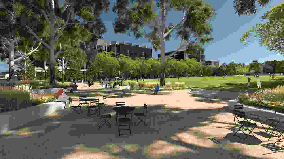 Proposed view of University Square from Pelham Street.