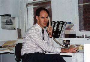 Steve Ashton at ARM's Leicester Street office, Melbourne (1988).