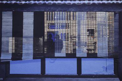 22 Temenggong Road, Twilight, 2018, Justin Hill. Hand-woven by Karlie Hawking, Sue Batten, Chris Cochius, Pamela Joyce, Leith Maguire, Sophie Morris and Cheryl Thornton, wool, cotton, 2.35 x 3.54m.