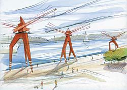 Tidal wind and solar power are harnessed to make a row of tidal cranes.