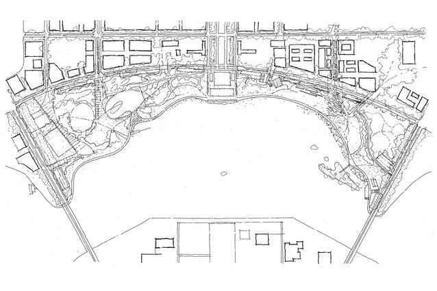 A sketched site plan showing the Canberra Central Parklands area.