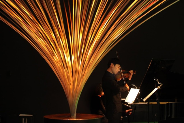 The Auckland Philharmonia Orchestra's violinist James Jin pleases the crowd at the opening.