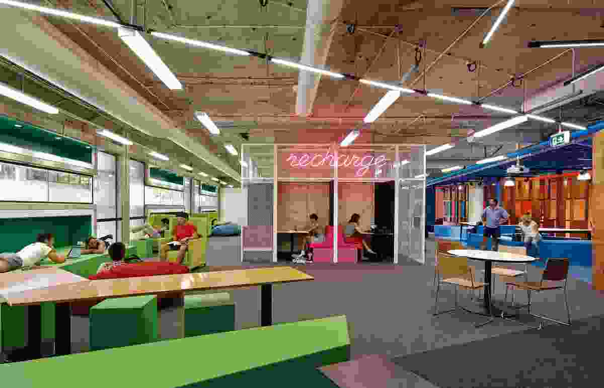 Woods Bagot designed modular rubber furniture that students can use in a variety of ways to configure the space.