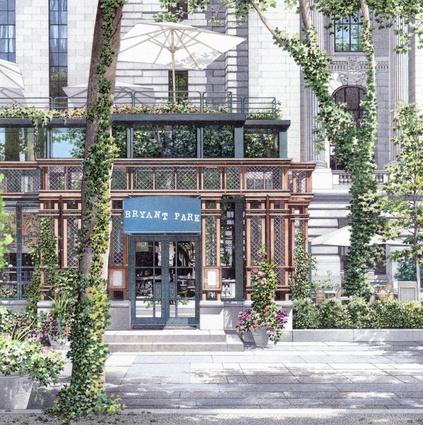Rendering by Brian Burr. Restaurant - Bryant Park, NYC, NY Architect: Hugh Hardy.