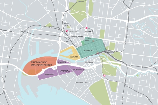 The Fishermans Bend renewal area as laid out in the <i>Fishermans Bend Draft Framework</i>.