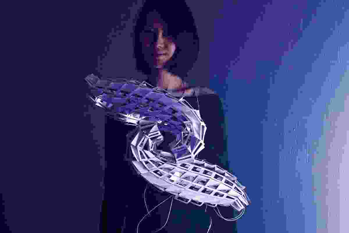 "The Virtual Environments course at the University of Melbourne emphasizes analysis and use of nature-inspired processes for form-making of ""wearable architecture."" Model by Tammy Hu."