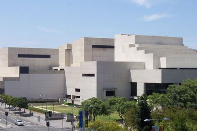 The western facade of the Queensland Performing Arts Centre, designed by Robin Gibson and Partners.