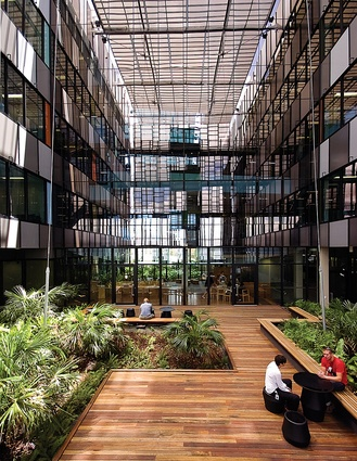 Ecosciences Precinct: Glass louvres allow a view of the greenery from the offices.