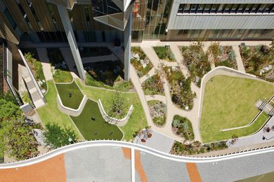 A continuous landscape character is woven through the Fiona Stanley Hospital precinct, connecting courtyards, plazas, parklands, rooftops and bushland.