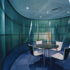 One of the meeting rooms defined by a translucent polycarbonate screen. Image: Shannon McGrath.