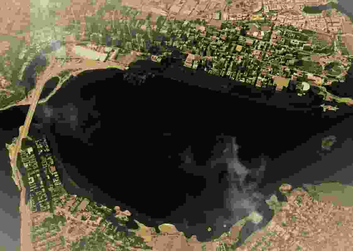 """By 2100, a projected one metre sea level rise will """"reclaim"""" many of the land formations of the 19th and 20th centuries including Langley Park, Heirisson Island and South Perth foreshores."""