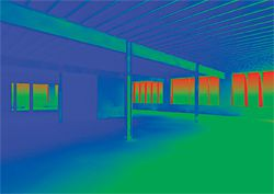 An image generated from Autodesk Ecotect Analysis depicting the effect of proposed shading devices in reducing perimeter glare and excessive insolation in order to create a work environment where the use of artificial lighting can be minimized. Image courtesy of ARBA Studios.