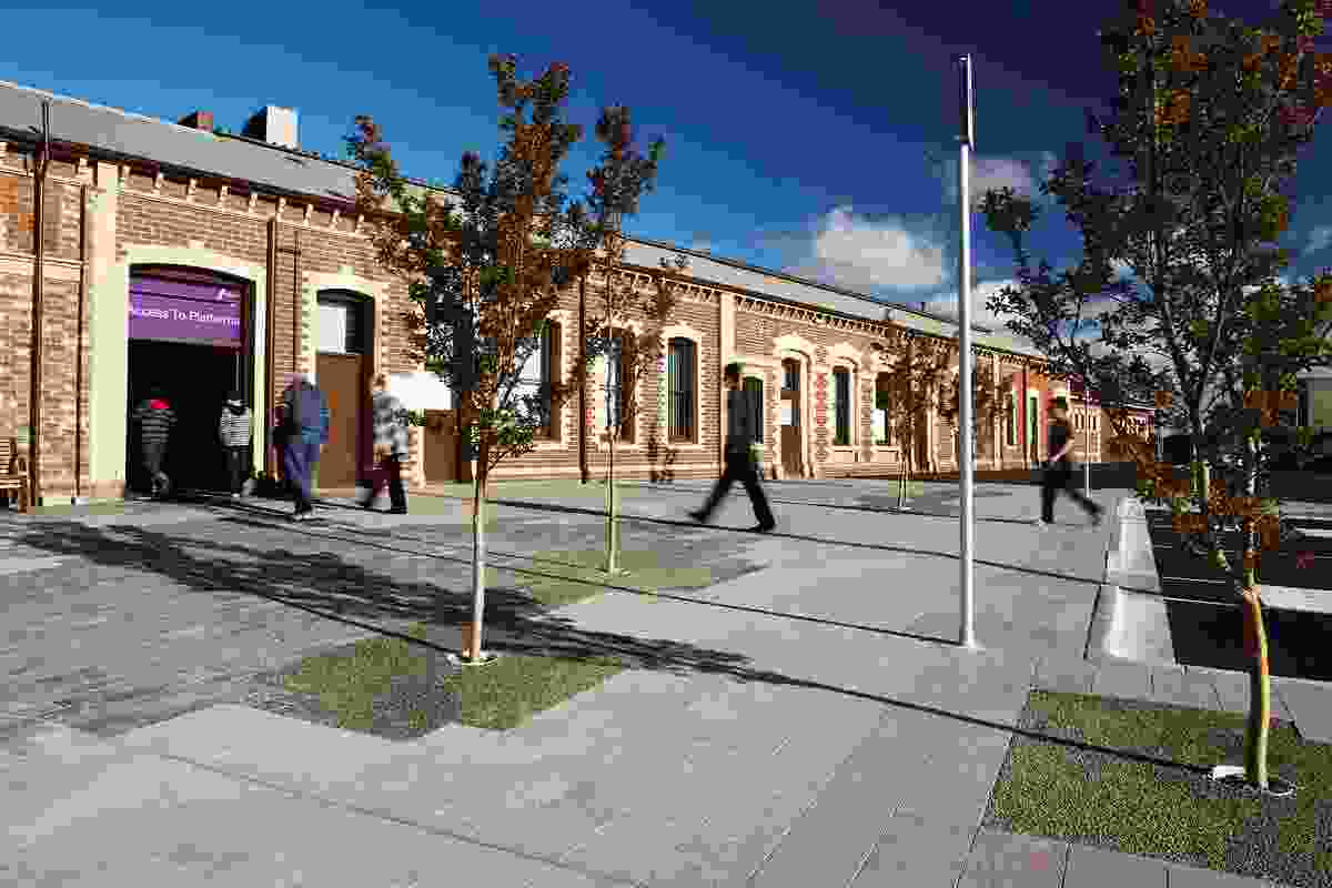 The Trainshed Way shared space starts at the entrance of Geelong Railway Station, a heritage-listed 1880s building.