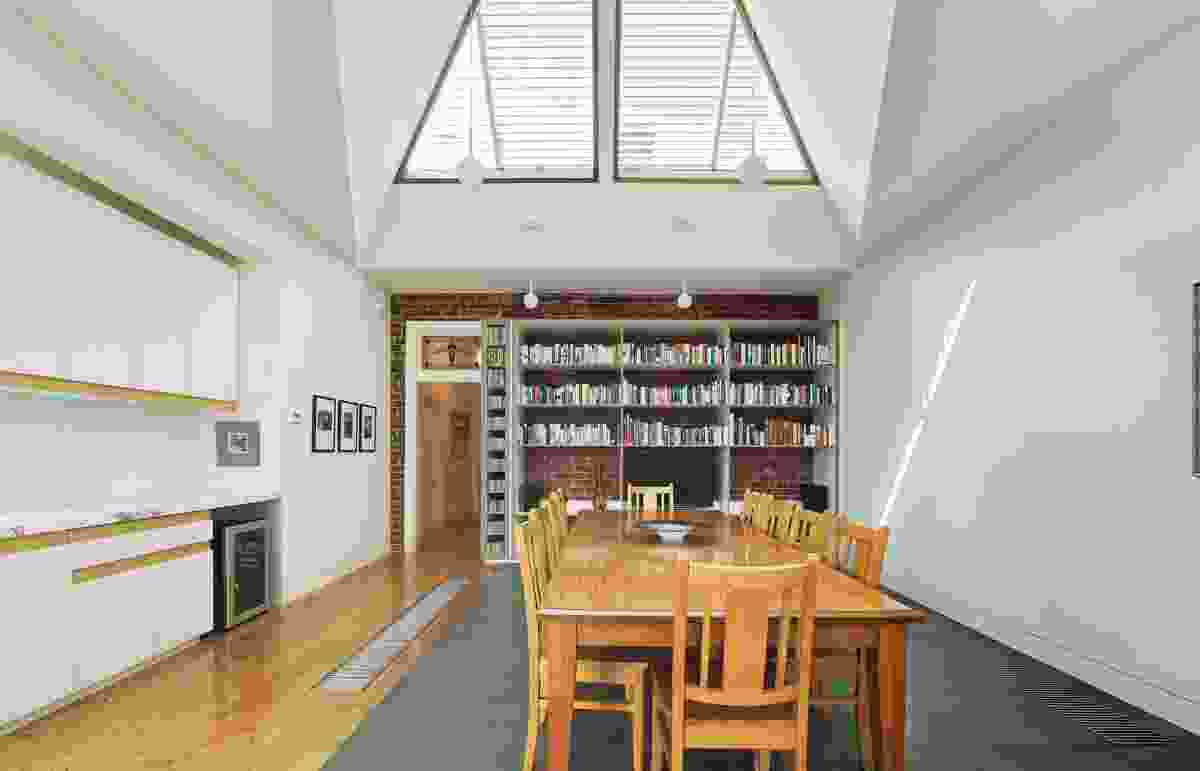 North-facing glazing in the pitched roof brings light into the southern living area and backyard.