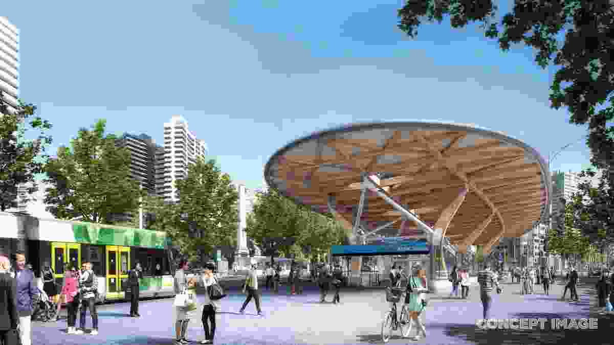 The design for Anzac station by Hassell, Weston Williamson and Rogers Stirk Harbour and Partners.